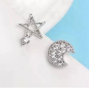 s925 純銀耳釘女式小耳丁五角星星星月亮鑲鑽耳環韓風