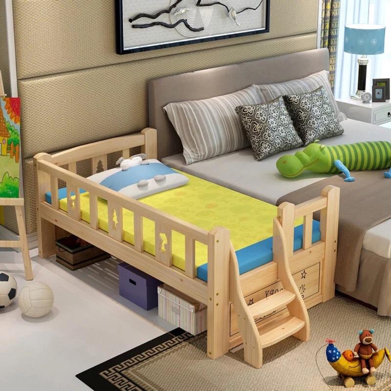 實木環保無漆兒童拼接床(不含床墊)