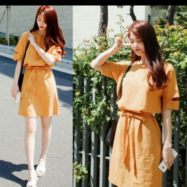 洋裝棉麻繫帶黃色圓領中袖寬鬆高腰連衣裙