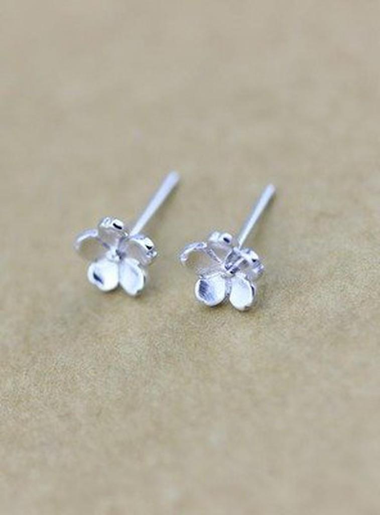 925 純銀耳環飾品浪漫櫻花立體小花五瓣花 耳針耳骨多耳洞 款~╮ 好物銀飾區~