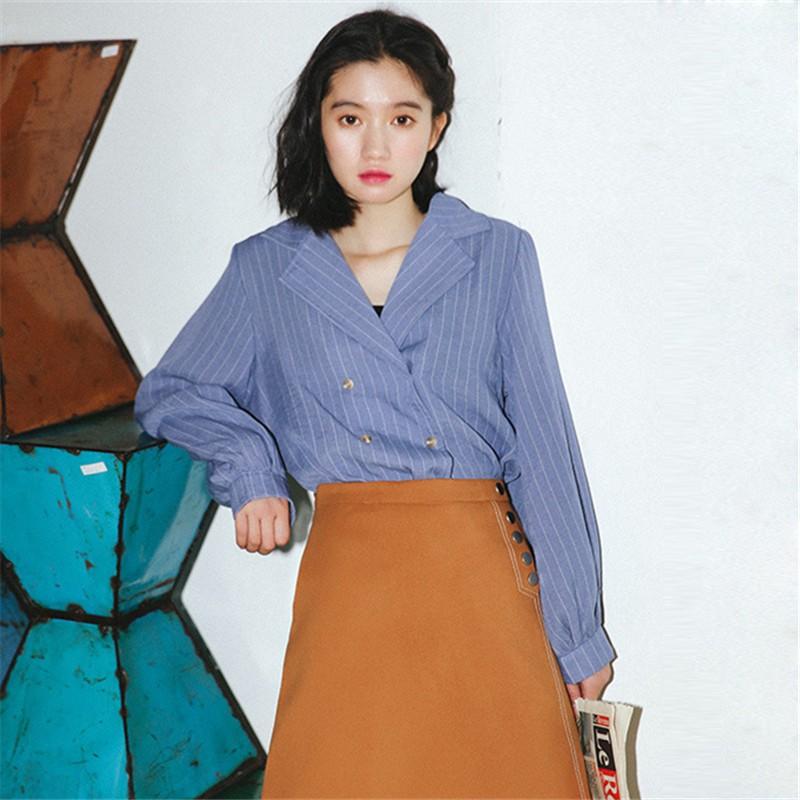 秋裝 韓系復古法翻領西裝領雙排釦條紋長袖襯衫女裝上衣
