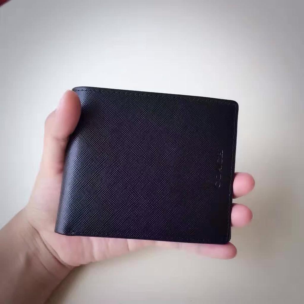 阿青美國  coach F74768 十字紋牛皮短款錢包皮夾短夾有獨立相片位零錢包