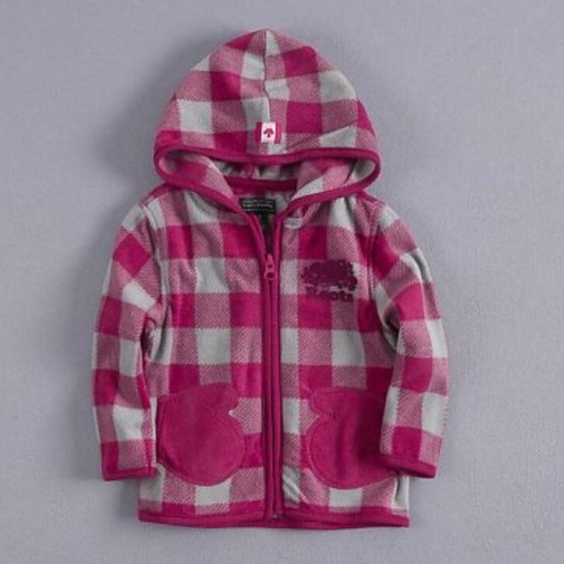 ROOTS 2 5 歲女小童 格子搖拉絨 超輕保暖連帽外套