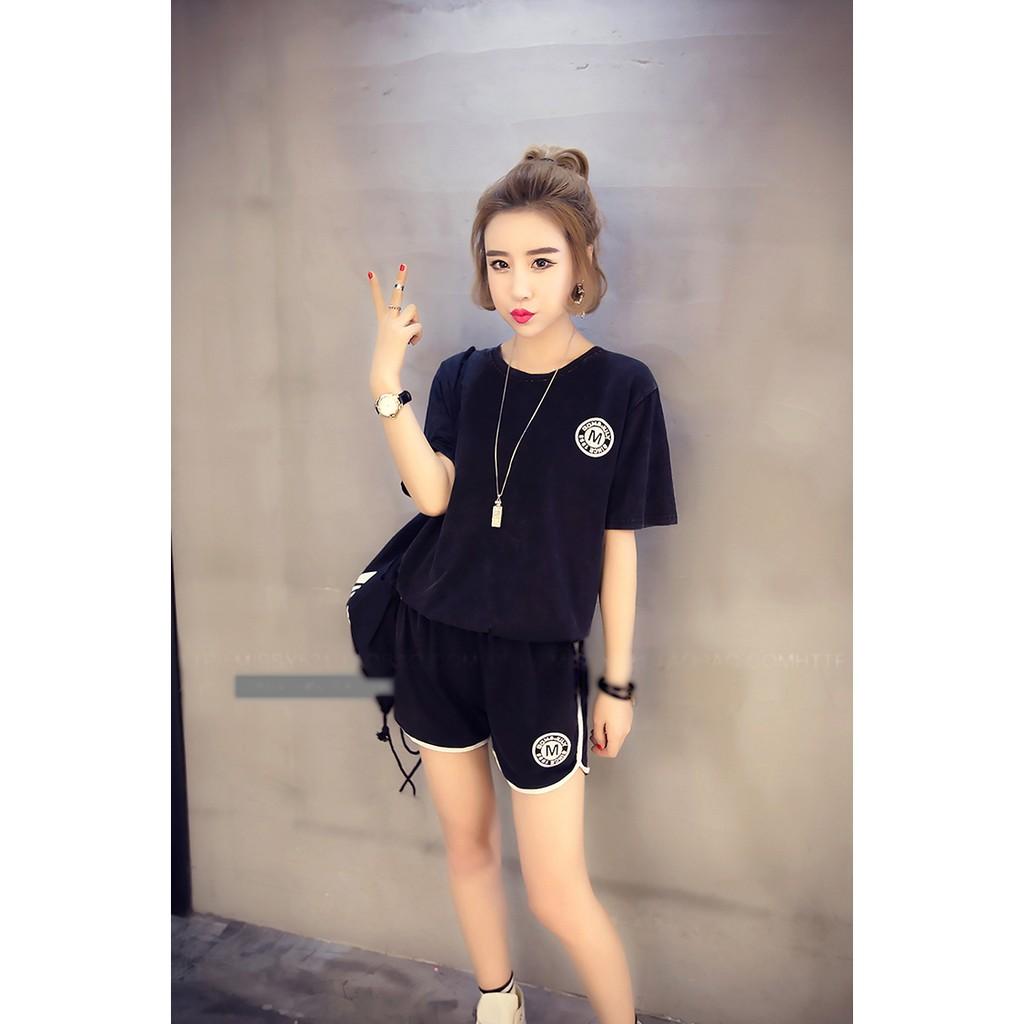 MOMO ~ ~❤2017  顯瘦實拍韓妞學生韓國 潮流 女短袖上衣 短褲兩件套