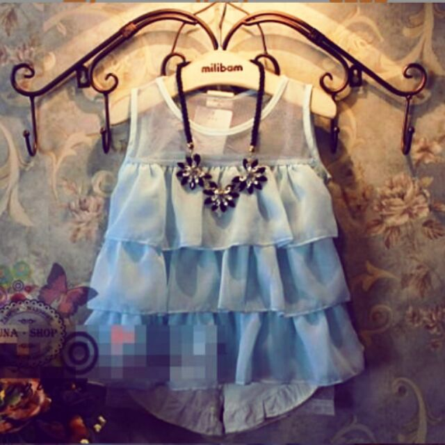公主風層層紗雪紡透膚蛋糕式無袖背心上衣細肩帶背心裙蕾絲紗裙連身裙~A0007 ~