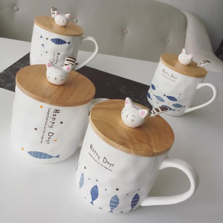 日式Zakka 貓咪和魚群馬克陶瓷杯子卡通帶勺帶蓋早餐牛奶水杯便攜水杯學生泡茶杯帶蓋茶隨手