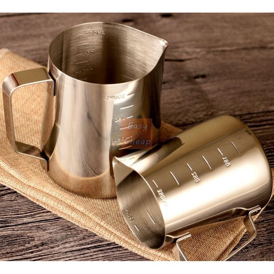 350ML 附刻度不鏽鋼咖啡拉花杯拉花壺拉花缸卡布奇諾奶泡杯EXC
