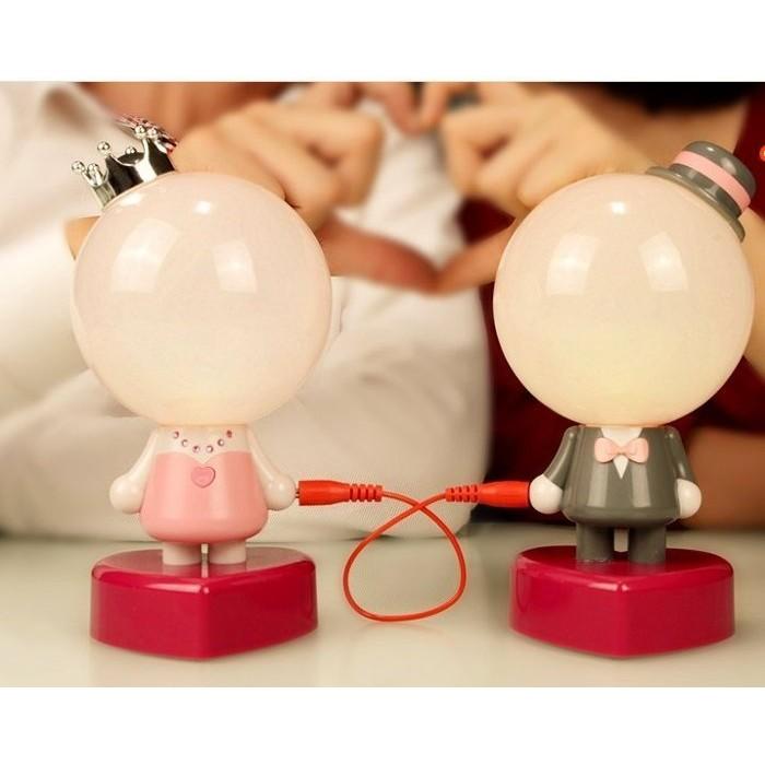 ( )蘿莉婚禮小物一線牽 情侶LED 檯燈小夜燈浪漫溫馨床頭結婚婚慶裝潢