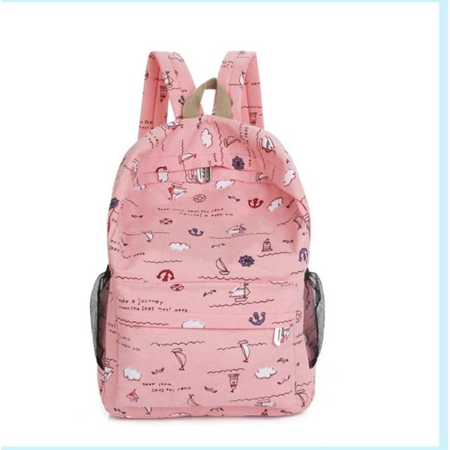 帆布雙肩包女 潮學院風初中學生書包旅行背包夏日韓可愛小清新