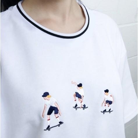 凸凸潮服~  ~J055 原宿學院風滑板少年印花簡約寬鬆短袖T 恤上衣女百搭附實拍