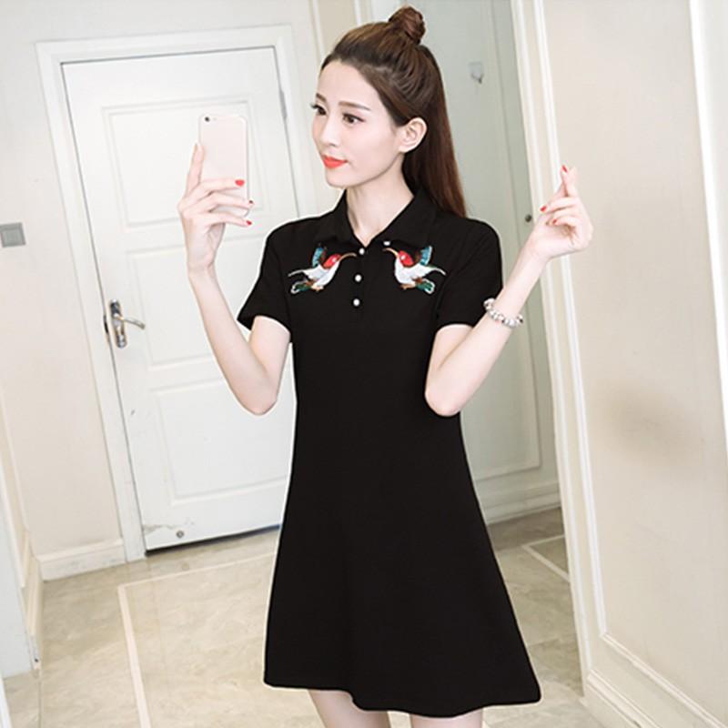 ~ ~實拍正韓洋裝學院 翻領黑色小鳥刺繡大碼寬鬆短袖洋裝中長款T 恤連身裙顯瘦休閒A 字裙