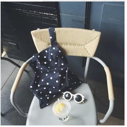 正韓韓國帶回可愛點點圓點普普風草間彌生深藍色白色簡約素面簡單大方包沙灘夏日夏天小清新帆布包
