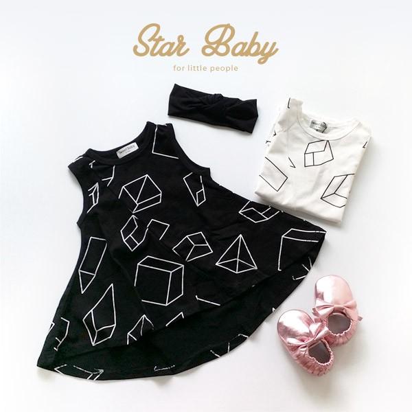~零碼 ~IG 款女童寶寶360 度旋轉裙幾何圖形連身裙洋裝~star baby ~80