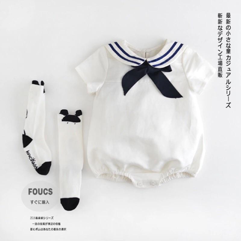 男童女童寶寶海軍風蝴蝶結條紋翻領短袖包屁衣