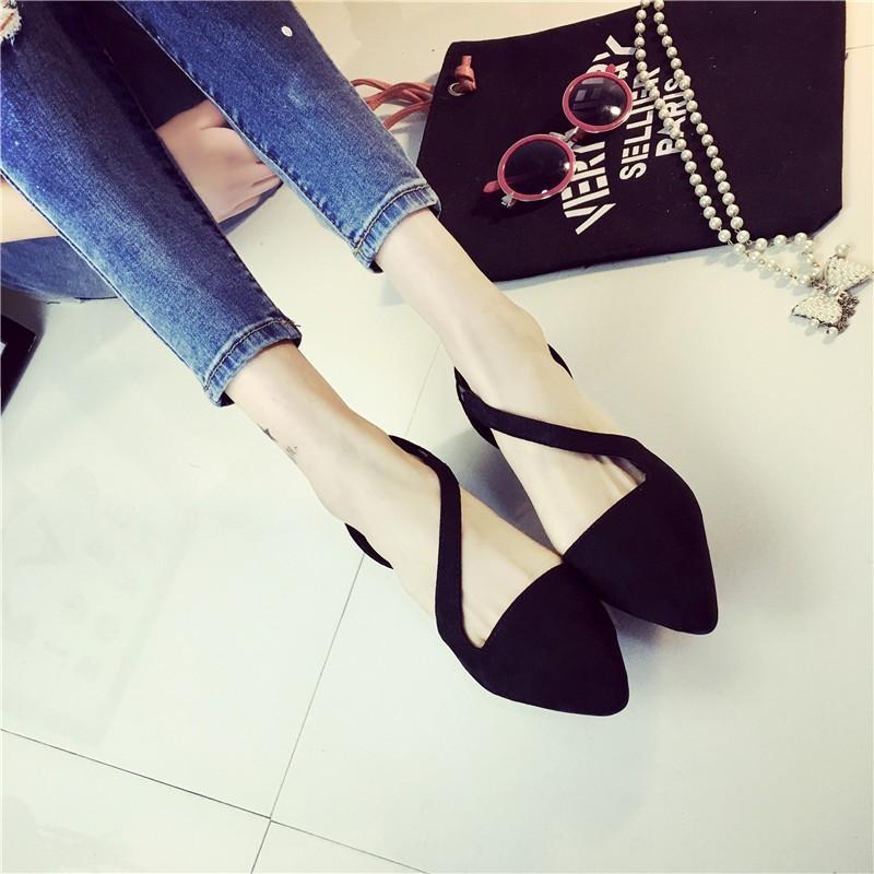 韓國小妞℃ 2016 春夏女鞋尖頭細跟顯瘦一字扣中跟鞋包頭中空包跟涼鞋