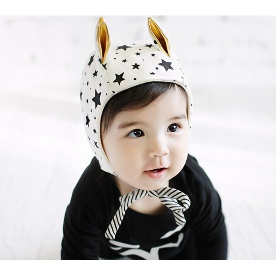 可愛耳朵男女寶寶繫帶護耳帽子兒童套頭帽