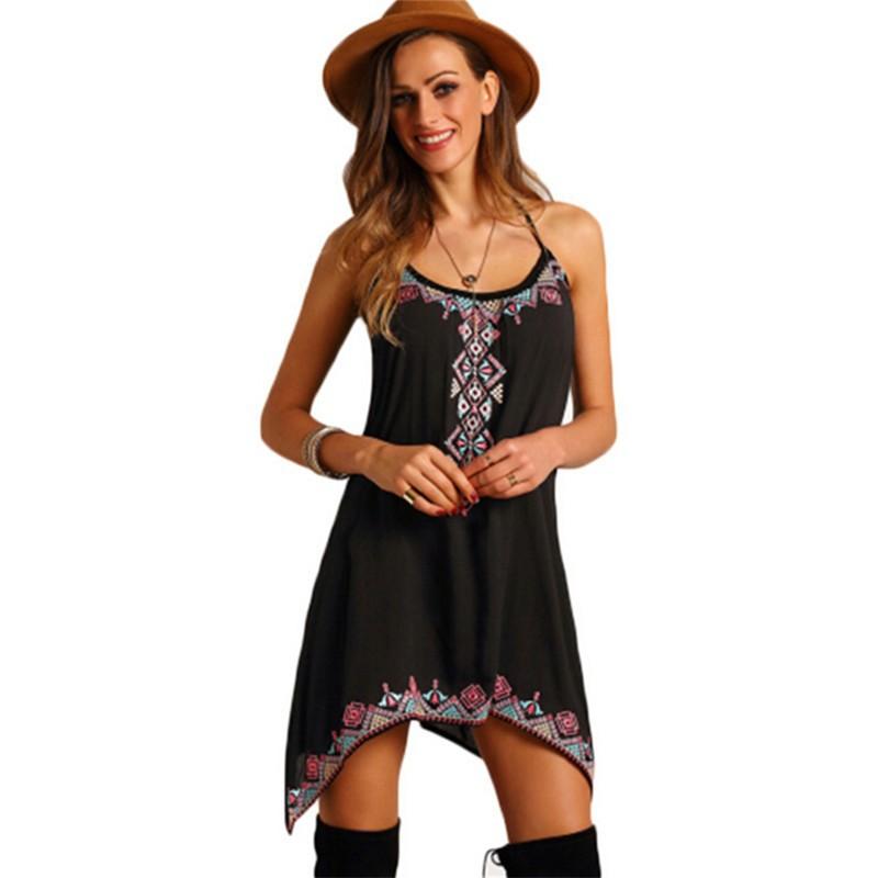 ZAFUL 女款波西米亞風格的性感吊帶印花無袖連衣裙