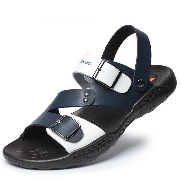 男士涼鞋真皮2016  休閒鞋子涼鞋男沙灘涼鞋男兩用青年涼拖