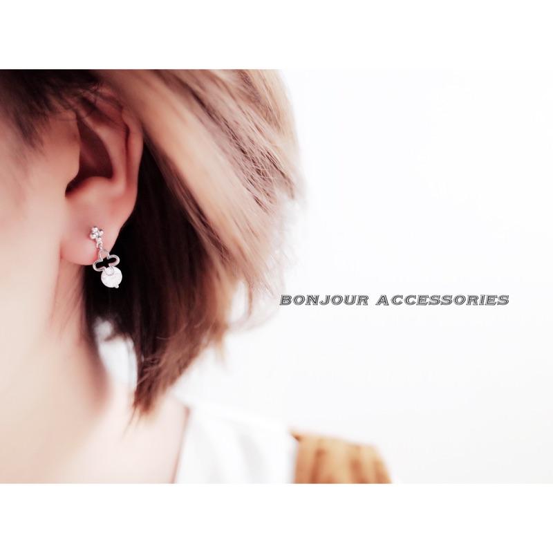 Bonjouracc 正韓925 銀針小十字單鑽 耳環