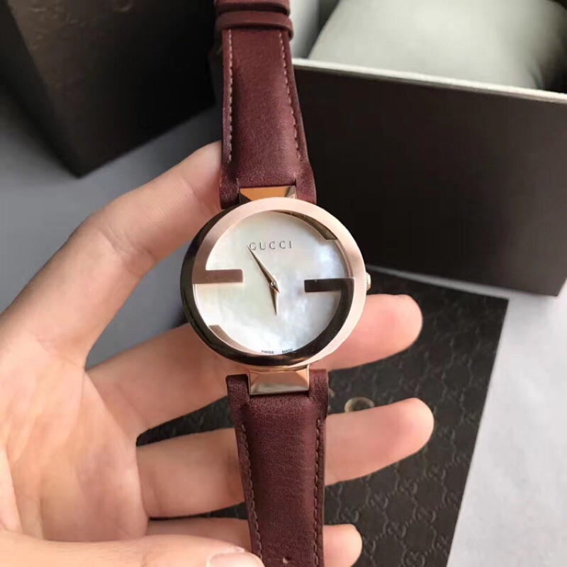 GUCCI Interlocking 雙G 腕錶咖啡色面29mm YA133504