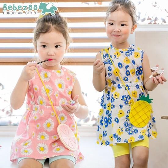 ⛱ ⛱女童韓國Bebezoo 花朵背包背心背後蝴蝶結很美連衣裙連身裙洋裝外出服