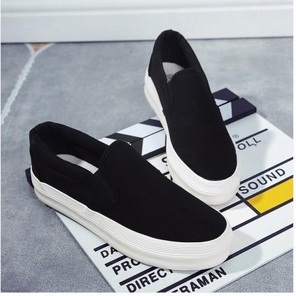 2016 白色帆布鞋女鞋小白鞋厚底樂福鞋懶人鞋學生布鞋休閒板鞋