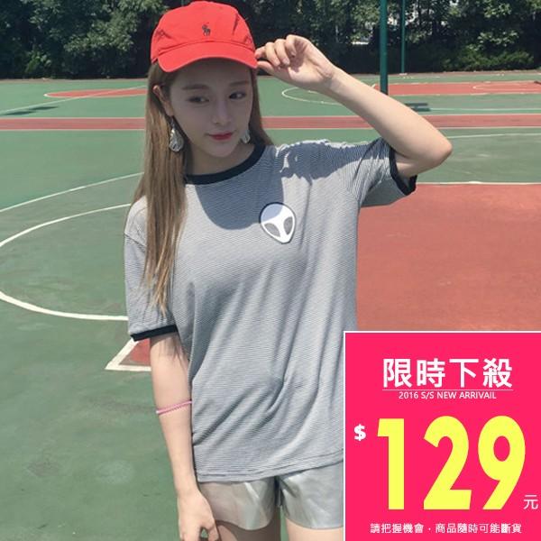 韓款短袖黑邊細條紋簡約T 恤~TJA4139 ~TJSHOP