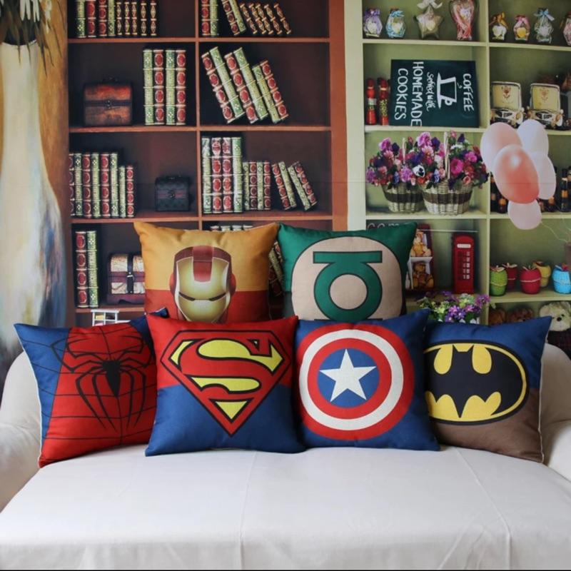 鋼鐵人美國隊長蜘蛛人超人蝙蝠俠綠燈俠加厚綿麻抱枕套200 元+ 520g 枕芯130 元
