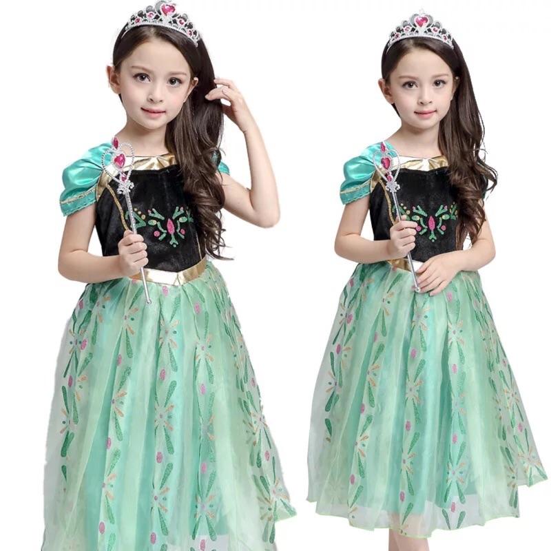 萬聖節化妝舞會兒童服裝安娜公主Anna 舞蹈演出服幼兒派對裝扮表演服