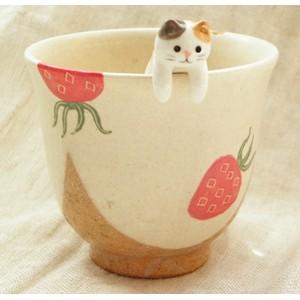 貓咪雜貨店銷售第一名 療癒白色三毛貓貓咪陶瓷攪拌棒