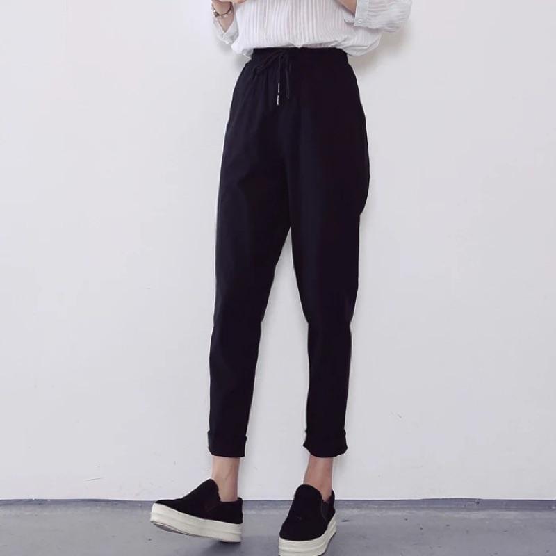 2016  寬鬆純色哈倫褲高腰顯瘦繫帶休閒褲