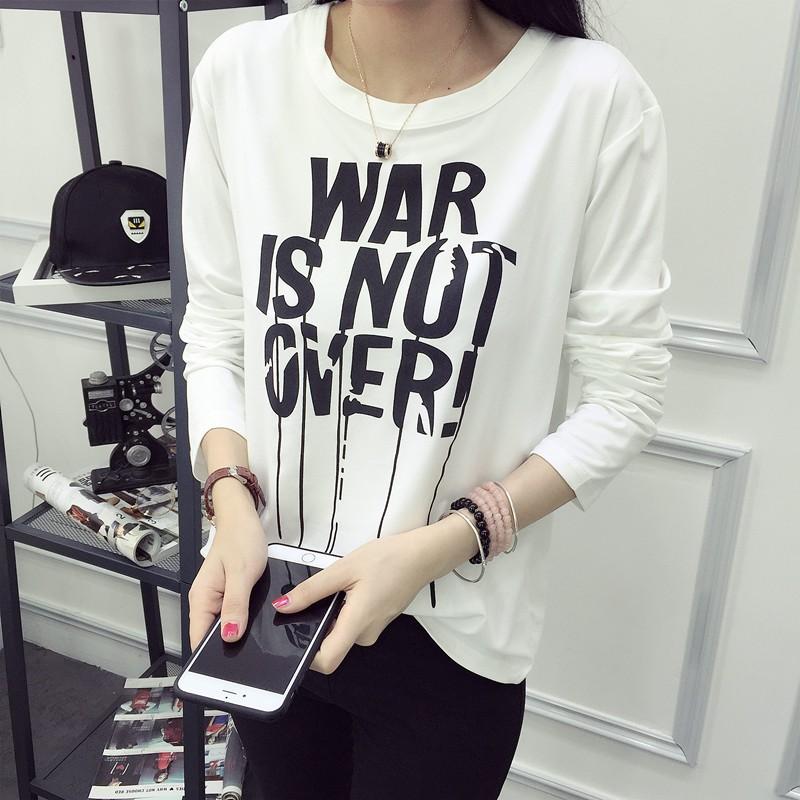 MOMO ~ ~❤2017  顯瘦實拍韓妞學生韓國 潮流寬松大碼長袖T 恤打底衫女潮模特