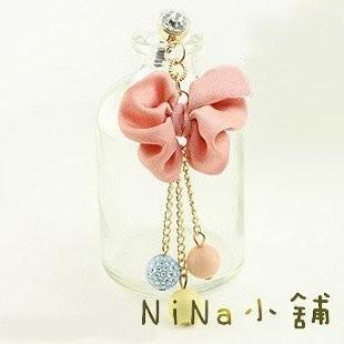 NiNa 小舖~S024C9 ~韓國Candy Girl 蝴蝶結流蘇彩色圓球鑲鑽防塵塞吊飾