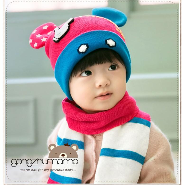 米奇毛線帽圍巾套裝 最多韓國公主媽媽 保暖帽童毛帽