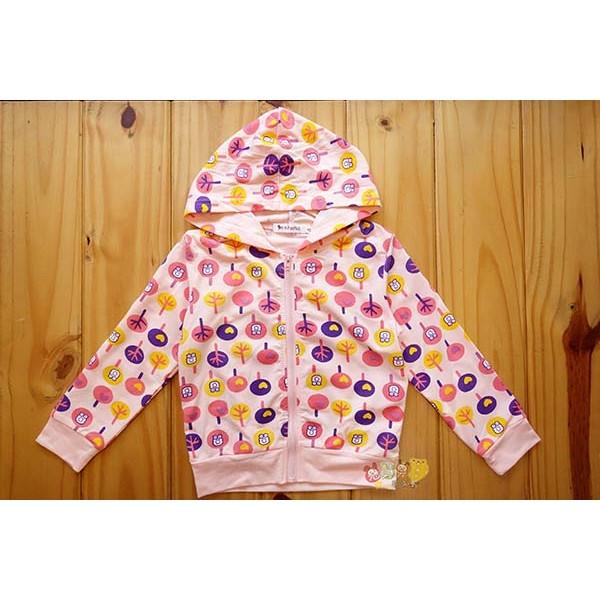 最後一件9 11 號40951 療育貓頭鷹粉紅森林薄長袖連帽防曬外套中小童