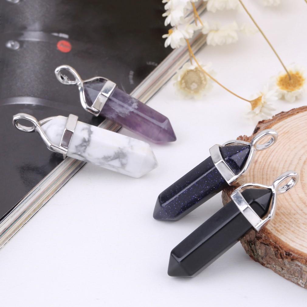 自然水晶吊墜寶石項鍊
