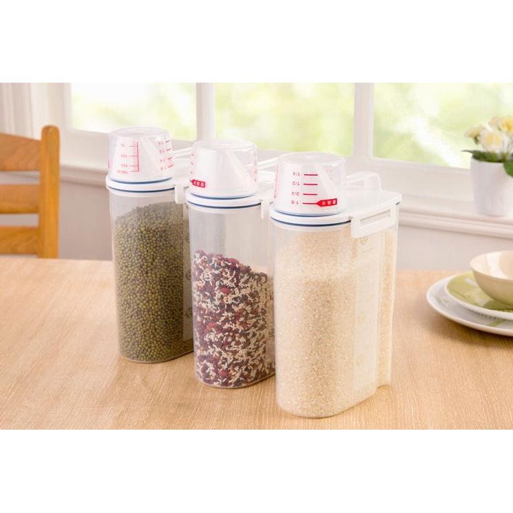 ~防潮防蟲儲存罐~2KG 米桶冰箱手提有蓋帶量杯儲存罐五穀雜糧黃豆保存手提塑膠桶手提收納箱
