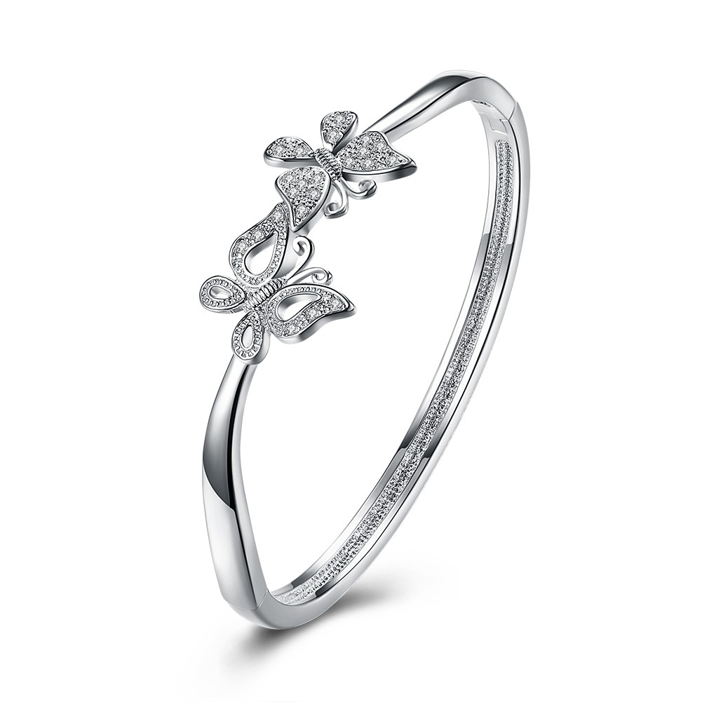 銀飾新品蝴蝶雙飛鑲鑽手鐲女式