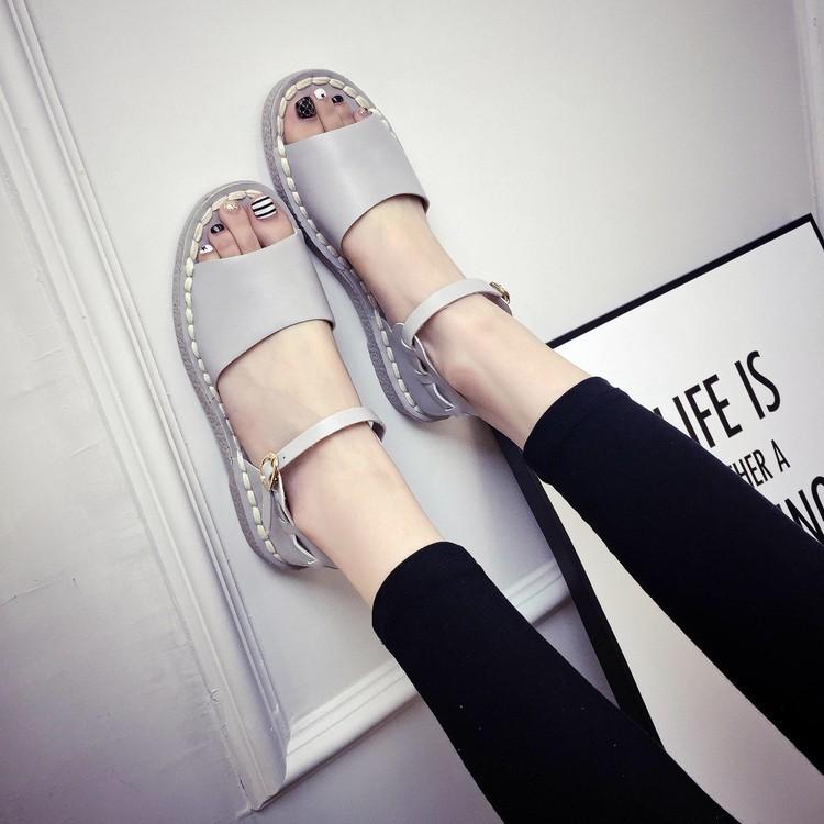 2016  公主女士涼鞋潮平底羅馬學生軟底 平跟魚嘴鞋女士涼鞋涼鞋平底涼鞋百搭涼鞋休閒涼鞋