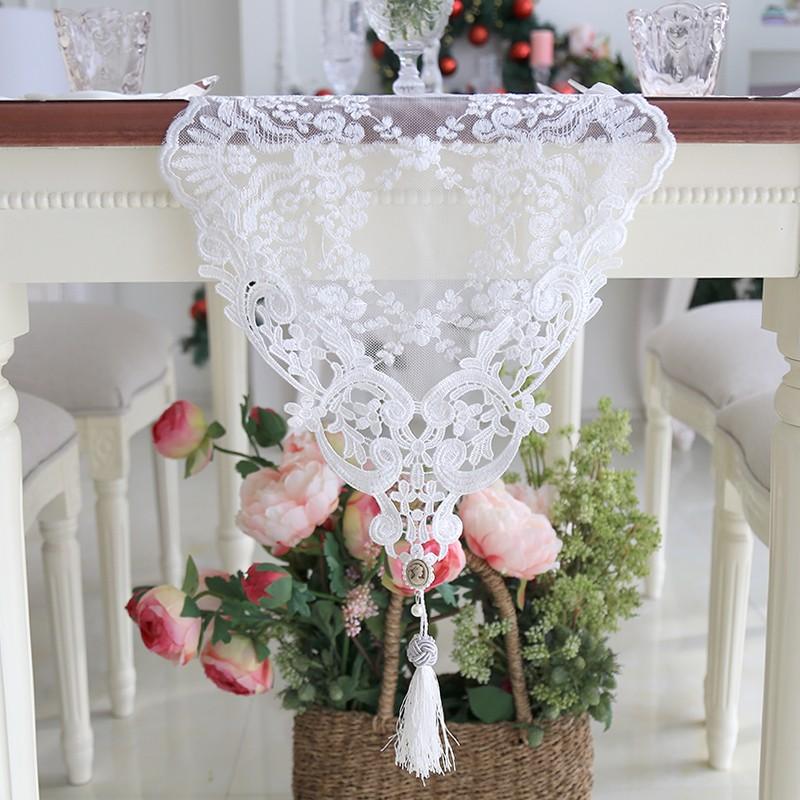 beautydream 韓式蕾絲刺繡浪漫餐桌桌旗鏤空網紗繡花茶幾桌旗桌布