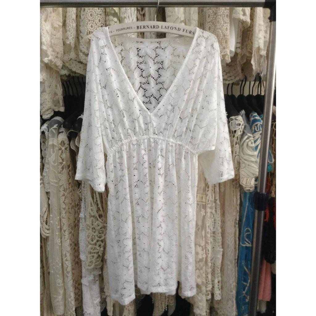 847 大量 白色 沙灘罩衫性感 復古蕾絲比基尼外搭罩衫