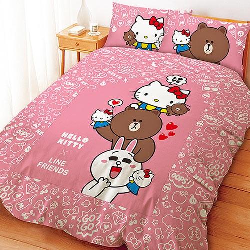 三麗鷗 製系列~KITTY x LINE 手偶同樂會~單人雙人床包組被套涼被枕頭套熊大兔兔