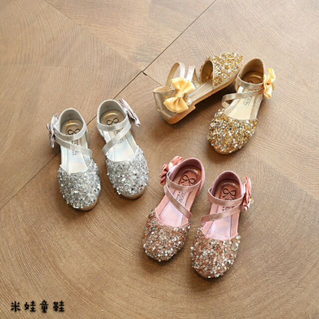 鞋內長15 8 22 1 公分4 12 歲女童皮鞋公主鞋兒童單鞋春夏 亮片女童鞋123YY