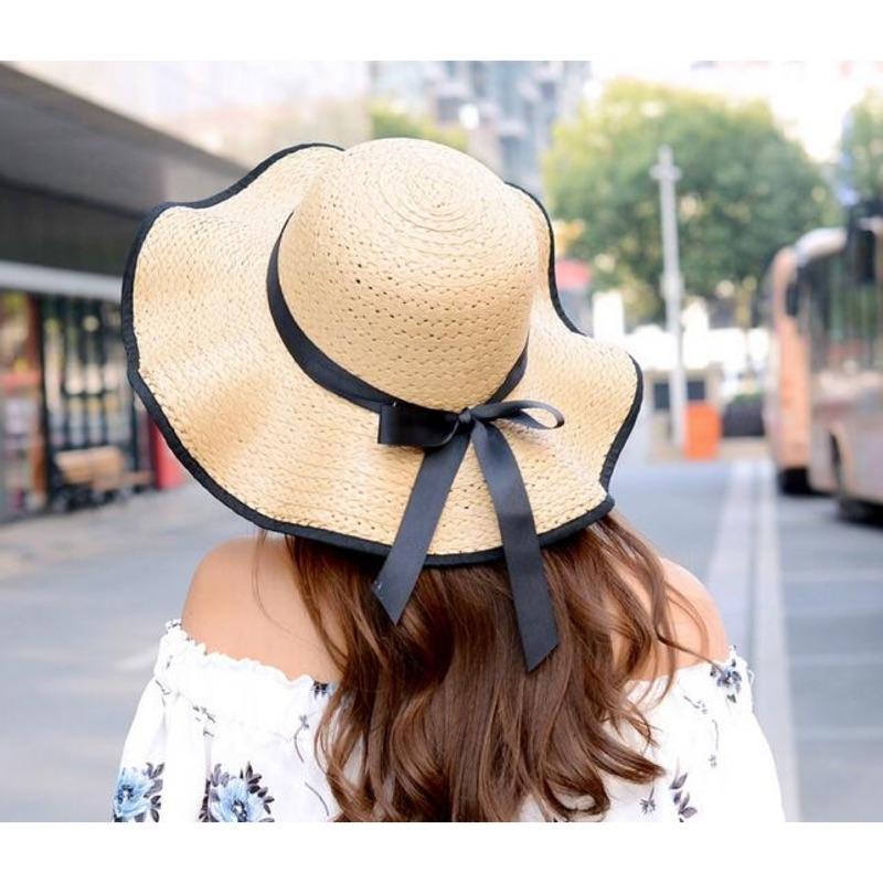 瀅瀅小舖QF042 蝴蝶結波浪邊防曬帽遮陽帽沙灘帽大沿草帽太陽帽