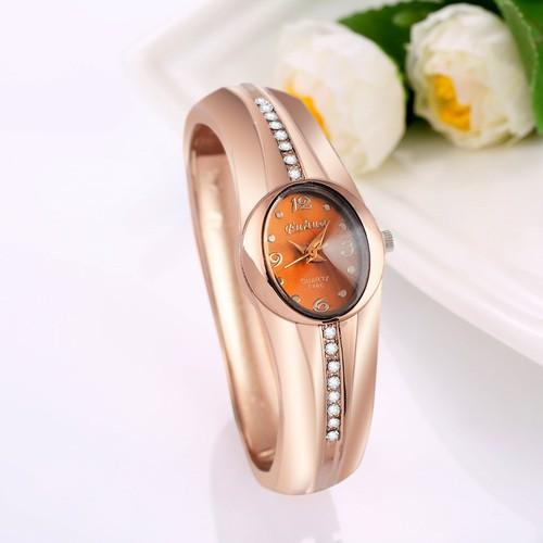 女生復古流線型手鐲腕錶,玫瑰金