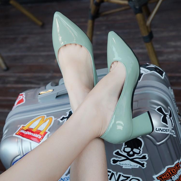 AC 高跟單鞋女淺口粗跟尖頭漆皮女鞋職業中跟銀色工作鞋子女黑色