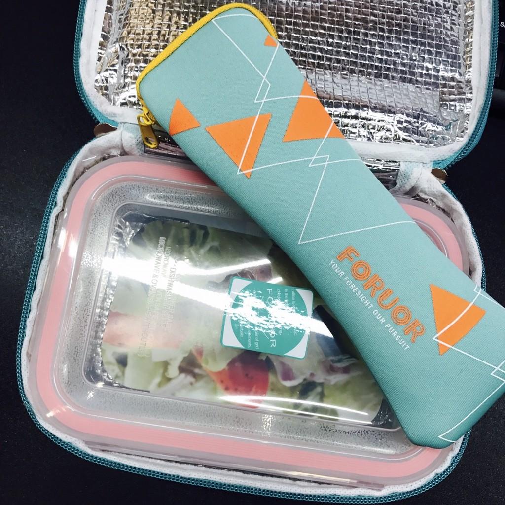 法國FORUOR 耐熱玻璃保鮮盒提袋組800ml