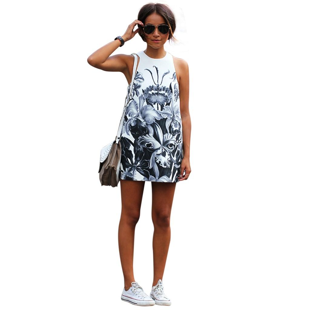夏日清新率性 休閒圓領大膽印花無袖連身裙洋裝長版上衣