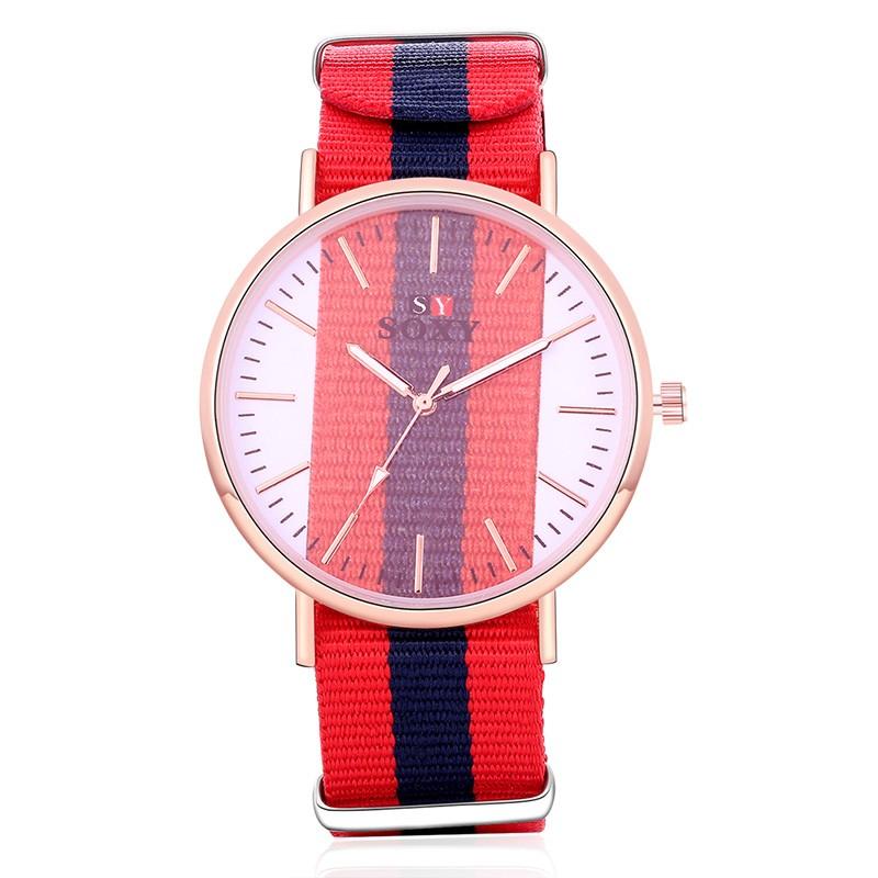 2016 透明錶盤情侶手錶奢華金表男女尼龍帶腕錶休閒石英手錶