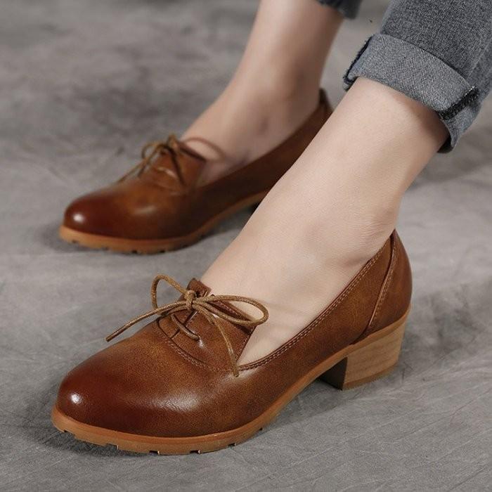 牛津鞋踝靴英倫復古布洛克擦色仿舊圓頭粗中跟繫帶休閒淺口包鞋女單鞋